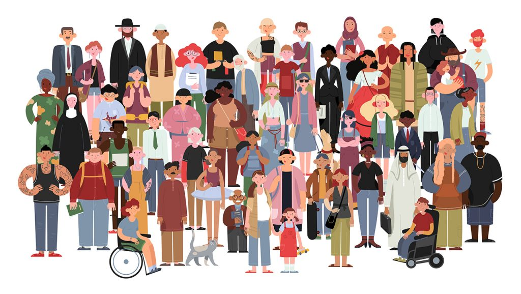 A graphic of a fairly big group of people demonstrating diverse races, ethnicities, disabilities, clothing, religious affiliation, etc.  Civil society teaches respect for diversity, not only in the ways we tend to think of it, but also diversity of personal attributes like attitude, mien, friendliness, and opinion.