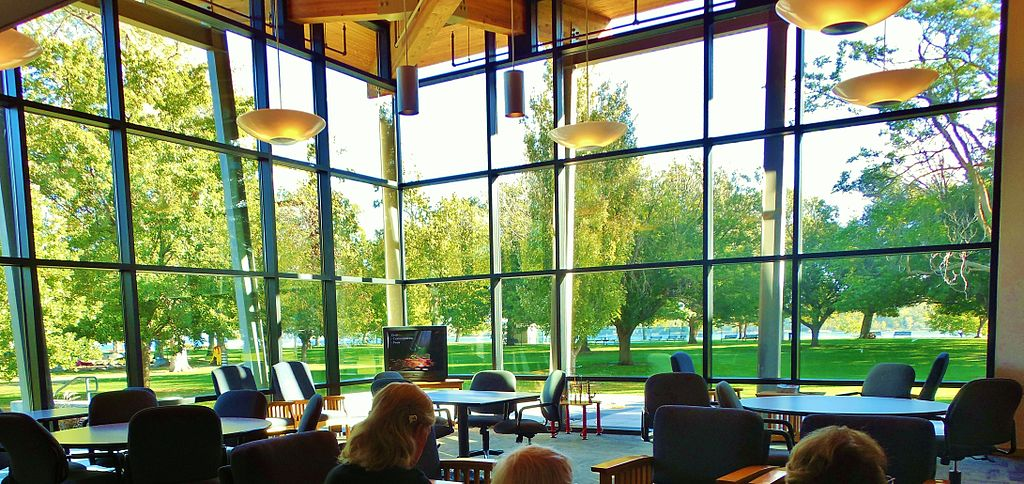 An image of a community room with windows for walls in Richland, WA.  Civil society needs places like this to meet, organize, and gather.