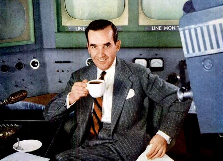 Unusual color picture of Edward R. Murrow hamming it up with a cup of coffee for the Pan American Coffee Bureau.  Murrow and anchors like him helped to create a shared reality in America.