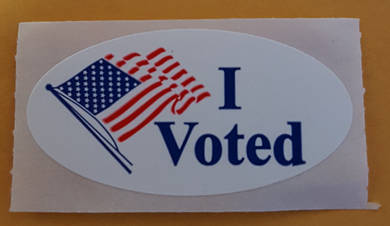 The iconic I Voted sticker that used to come with our ballots in Colorado, but no longer does.  This was a great, cheap way to advertise a culture of democracy.