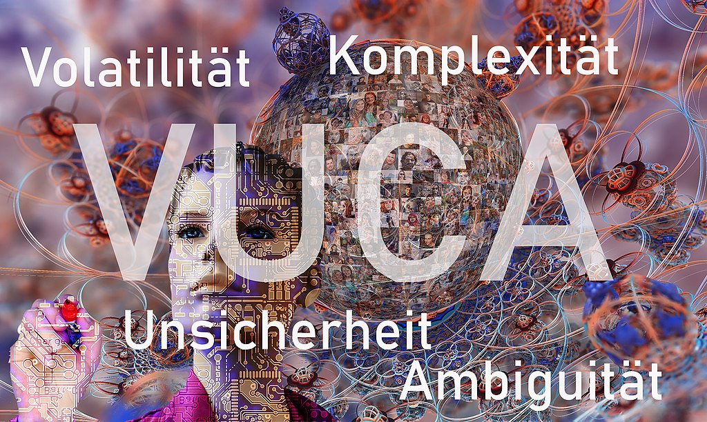 A collage illustrating our VUCA world, with a woman printed with circuit boards, and globe made of portraits, and complex cables.  Volatility, complexity, uncertainty, and ambiguity are spelled out in German, and the acronym VUCA overlays in the center.